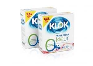 nieuwe klok XXL verpakkingen waspoeder wit en kleur